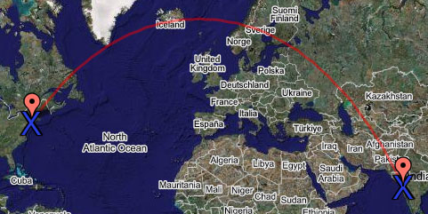 great circle route JFK to Mumbai