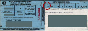 Texas District 10 voter registration card