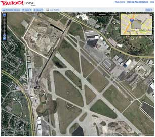 Yahoo Maps' satellite image of the old Mueller Airport site in Austin, TX