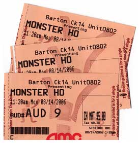 Monster Ho(use) ticket stubs